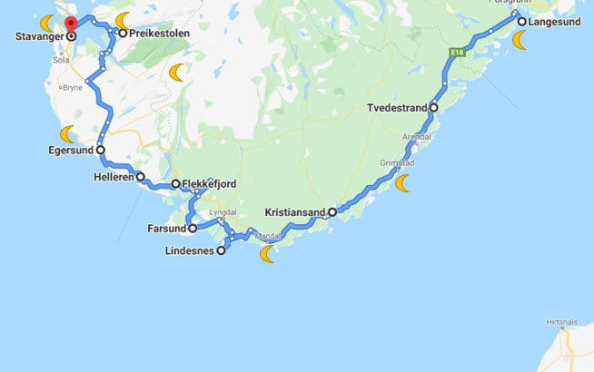 The motorhome route through Norway on the map